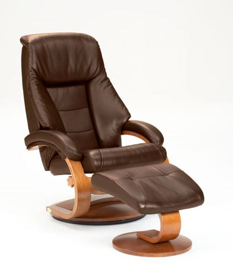 Picture of RECLINER EXPRESSO LEATHER WALNUT FINISH